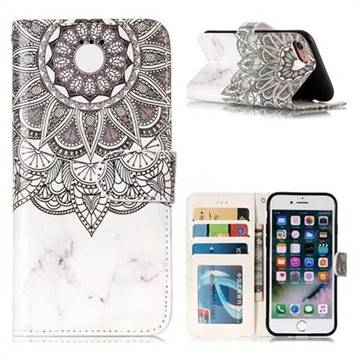 Marble Mandala 3D Relief Oil PU Leather Wallet Case for iPhone 8 / 7 (4.7 inch)