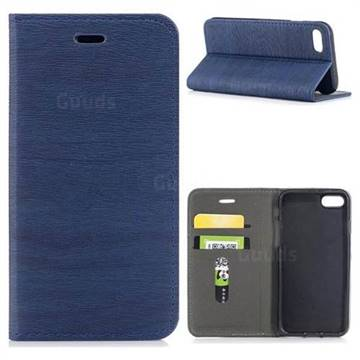 Tree Bark Pattern Automatic suction Leather Wallet Case for iPhone 8 / 7 (4.7 inch) - Blue