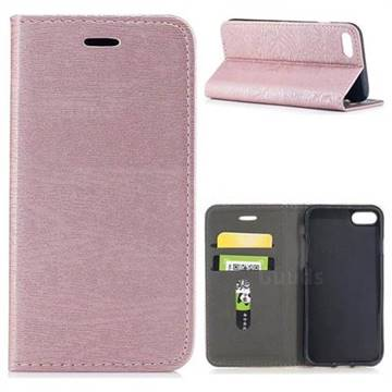 Tree Bark Pattern Automatic suction Leather Wallet Case for iPhone 8 / 7 (4.7 inch) - Rose Gold