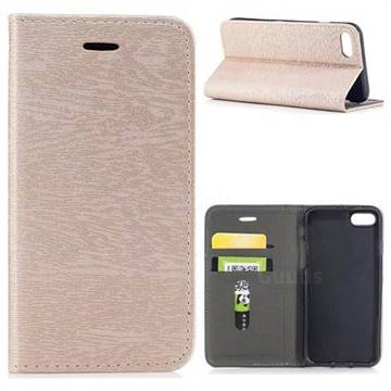 Tree Bark Pattern Automatic suction Leather Wallet Case for iPhone 8 / 7 (4.7 inch) - Champagne Gold