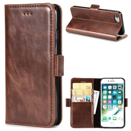 Luxury Crazy Horse PU Leather Wallet Case for iPhone 8 / 7 (4.7 inch) - Coffee