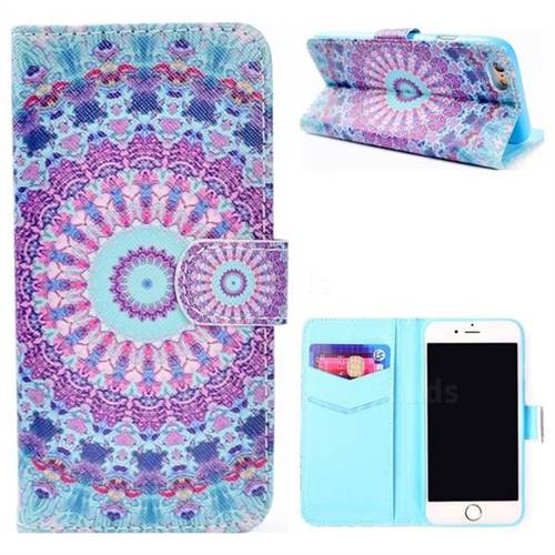 Mint Green Mandala Flower Stand Leather Wallet Case for iPhone 8 / 7 (4.7 inch)