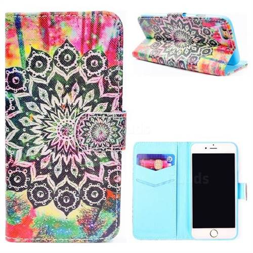 Colorful Mandala Flower Stand Leather Wallet Case for iPhone 8 / 7 (4.7 inch)