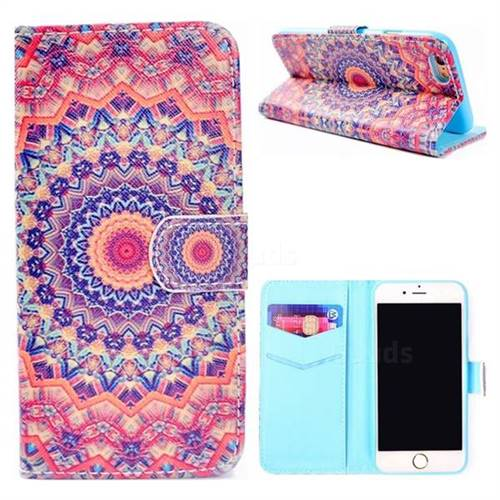 Orange Mandala Flower Stand Leather Wallet Case for iPhone 8 / 7 (4.7 inch)
