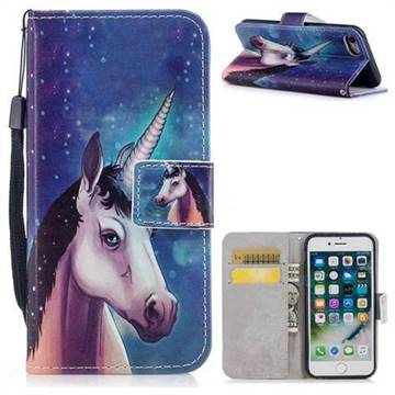 Blue Unicorn PU Leather Wallet Case for iPhone 8 / 7 (4.7 inch)