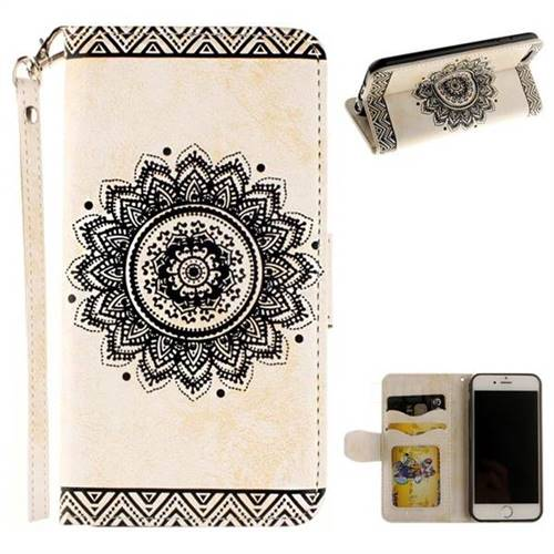 Embossed Datura Flower PU Leather Wallet Case for iPhone 8 / 7 (4.7 inch) - White