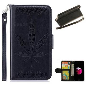 Intricate Embossing Maple Leather Wallet Case for iPhone 8 / 7 (4.7 inch) - Black