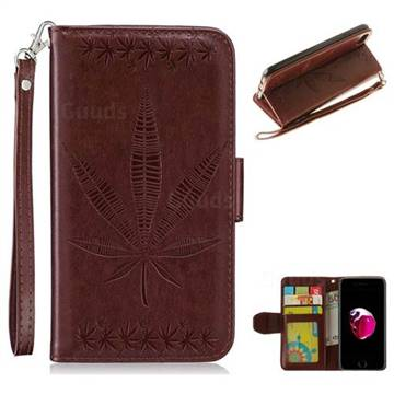 Intricate Embossing Maple Leather Wallet Case for iPhone 8 / 7 (4.7 inch) - Brown