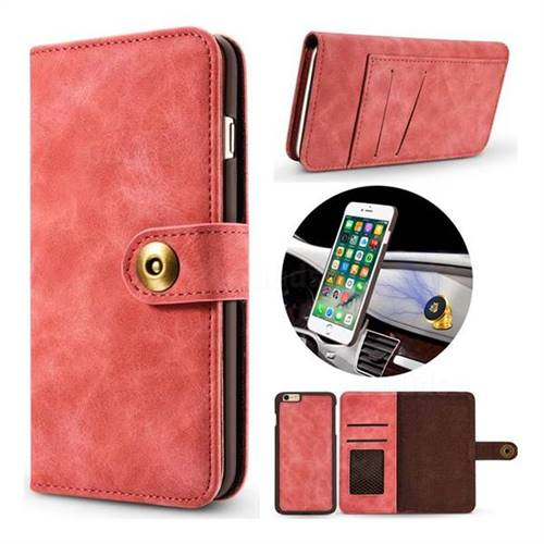 Luxury Vintage Split Separated Leather Wallet Case for iPhone 8 / 7 (4.7 inch) - Carmine