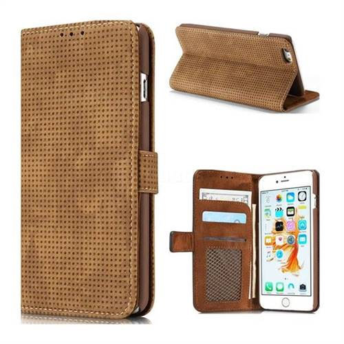 Luxury Vintage Mesh Monternet Leather Wallet Case for iPhone 8 / 7 (4.7 inch) - Brown