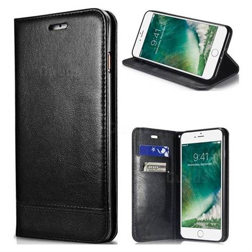 Magnetic Suck Stitching Slim Leather Wallet Case for iPhone 8 / 7 (4.7 inch) - Black