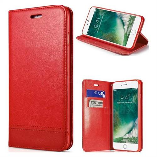 Magnetic Suck Stitching Slim Leather Wallet Case for iPhone 8 / 7 (4.7 inch) - Red