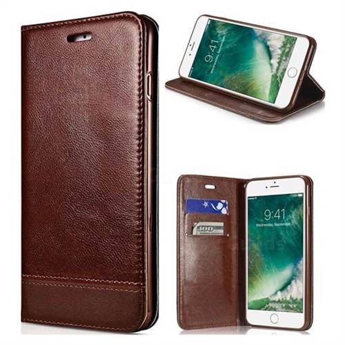 Magnetic Suck Stitching Slim Leather Wallet Case for iPhone 8 / 7 (4.7 inch) - Brown