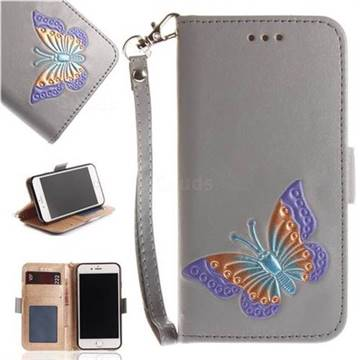 Imprint Embossing Butterfly Leather Wallet Case for iPhone 8 / 7 (4.7 inch) - Grey