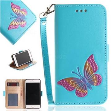 Imprint Embossing Butterfly Leather Wallet Case for iPhone 8 / 7 (4.7 inch) - Sky Blue