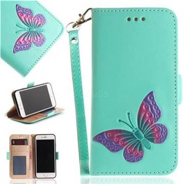 Imprint Embossing Butterfly Leather Wallet Case for iPhone 8 / 7 (4.7 inch) - Mint Green
