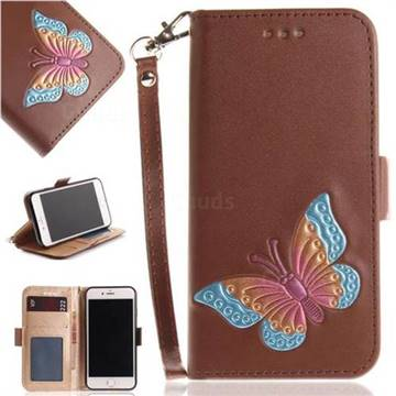 Imprint Embossing Butterfly Leather Wallet Case for iPhone 8 / 7 (4.7 inch) - Brown