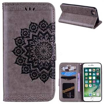 Datura Flowers Flash Powder Leather Wallet Holster Case for iPhone 8 / 7 (4.7 inch) - Gray