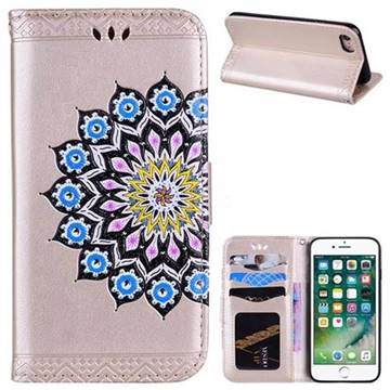 Datura Flowers Flash Powder Leather Wallet Holster Case for iPhone 8 / 7 (4.7 inch) - Golden
