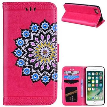 Datura Flowers Flash Powder Leather Wallet Holster Case for iPhone 8 / 7 (4.7 inch) - Rose
