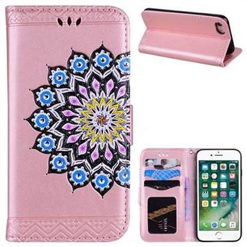 Datura Flowers Flash Powder Leather Wallet Holster Case for iPhone 8 / 7 (4.7 inch) - Pink