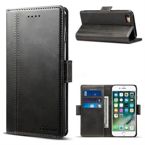 Suteni Calf Stripe Dual Color Leather Wallet Flip Case for iPhone 8 / 7 (4.7 inch) - Black