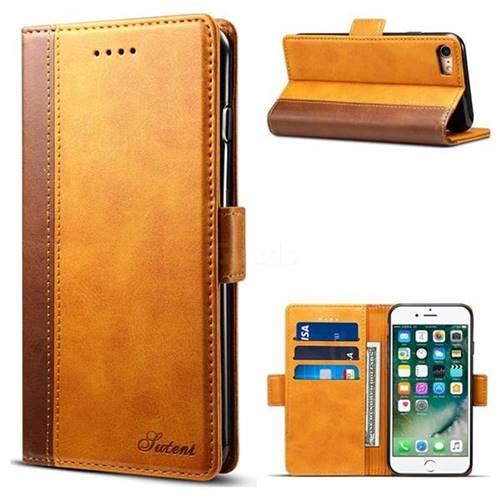 Suteni Calf Stripe Dual Color Leather Wallet Flip Case for iPhone 8 / 7 (4.7 inch) - Khaki