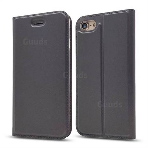 Ultra Slim Card Magnetic Automatic Suction Leather Wallet Case for iPhone 8 / 7 (4.7 inch) - Star Grey