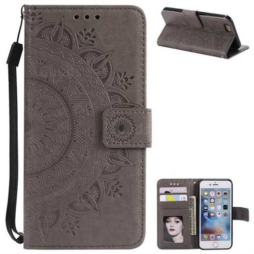 Intricate Embossing Datura Leather Wallet Case for iPhone 8 / 7 (4.7 inch) - Gray