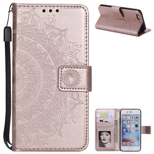 Intricate Embossing Datura Leather Wallet Case for iPhone 8 / 7 (4.7 inch) - Rose Gold