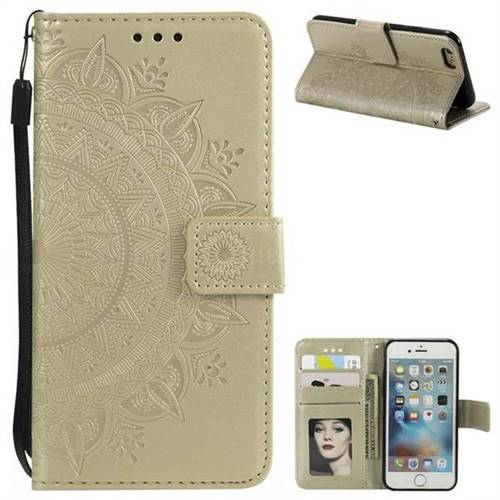 Intricate Embossing Datura Leather Wallet Case for iPhone 8 / 7 (4.7 inch) - Golden