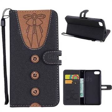 Ladies Bow Clothes Pattern Leather Wallet Phone Case for iPhone 8 / 7 (4.7 inch) - Black