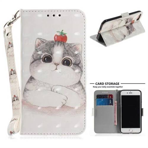 Cute Tomato Cat 3D Painted Leather Wallet Phone Case for iPhone 8 / 7 (4.7 inch)