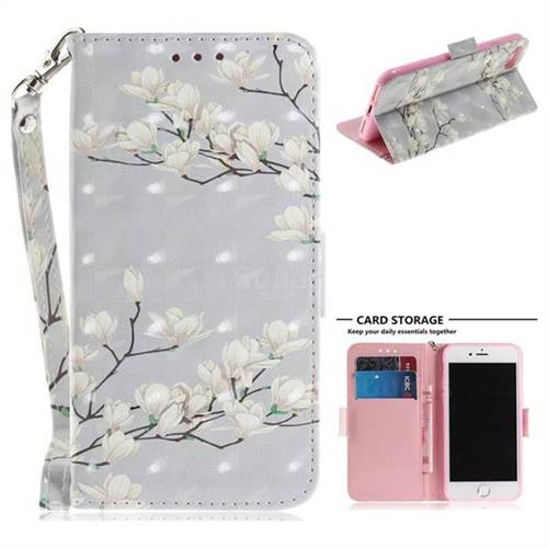 Magnolia Flower 3D Painted Leather Wallet Phone Case for iPhone 8 / 7 (4.7 inch)