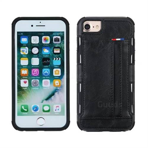 Luxury Shatter-resistant Leather Coated Card Phone Case for iPhone 8 / 7 (4.7 inch) - Black