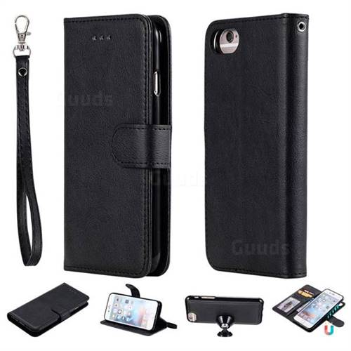 Retro Greek Detachable Magnetic PU Leather Wallet Phone Case for iPhone 8 / 7 (4.7 inch) - Black