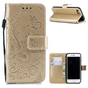 Intricate Embossing Butterfly Circle Leather Wallet Case for iPhone 8 / 7 (4.7 inch) - Champagne