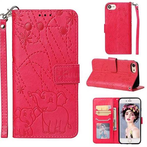Embossing Fireworks Elephant Leather Wallet Case for iPhone 8 / 7 (4.7 inch) - Red