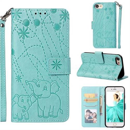 Embossing Fireworks Elephant Leather Wallet Case for iPhone 8 / 7 (4.7 inch) - Green