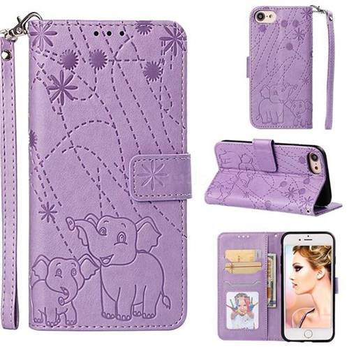 Embossing Fireworks Elephant Leather Wallet Case for iPhone 8 / 7 (4.7 inch) - Purple