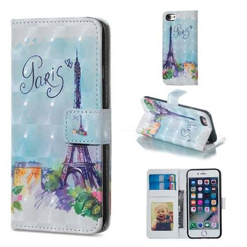 Paris Tower 3D Painted Leather Phone Wallet Case for iPhone 8 / 7 (4.7 inch)