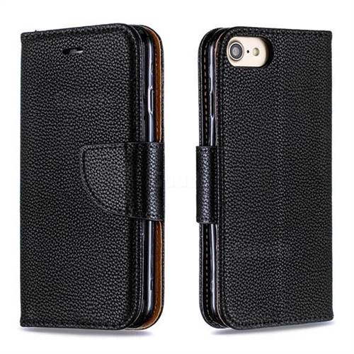 Classic Luxury Litchi Leather Phone Wallet Case for iPhone 8 / 7 (4.7 inch) - Black