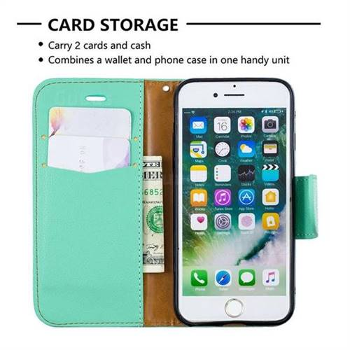 Classic Luxury Litchi Leather Phone Wallet Case for iPhone 8 / 7 (4 7 inch)  - Green