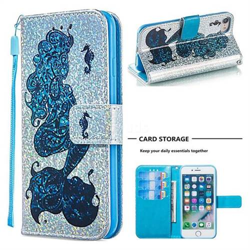 Mermaid Seahorse Sequins Painted Leather Wallet Case for iPhone 8 / 7 (4.7 inch)