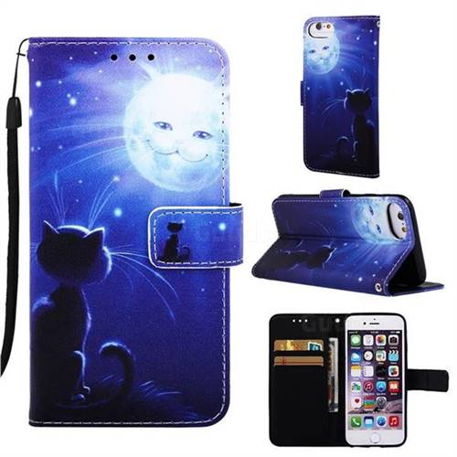 separation shoes a8fb1 c03f7 Cat and Moon Matte Leather Wallet Phone Case for iPhone 8 / 7 (4.7 inch)