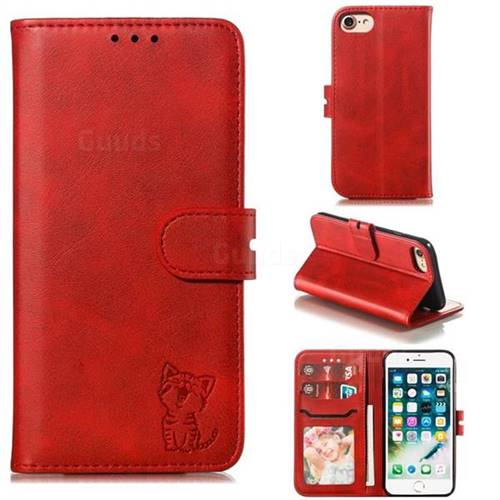Embossing Happy Cat Leather Wallet Case for iPhone 8 / 7 (4.7 inch) - Red