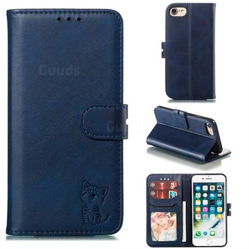 Embossing Happy Cat Leather Wallet Case for iPhone 8 / 7 (4.7 inch) - Blue