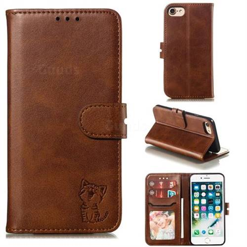 Embossing Happy Cat Leather Wallet Case for iPhone 8 / 7 (4.7 inch) - Brown