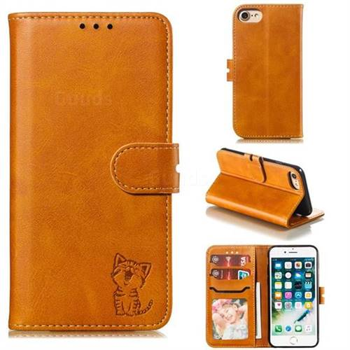 Embossing Happy Cat Leather Wallet Case for iPhone 8 / 7 (4.7 inch) - Yellow