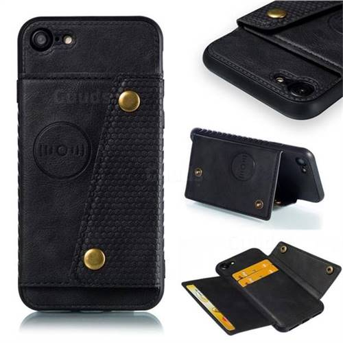 Retro Multifunction Card Slots Stand Leather Coated Phone Back Cover for iPhone 8 / 7 (4.7 inch) - Black